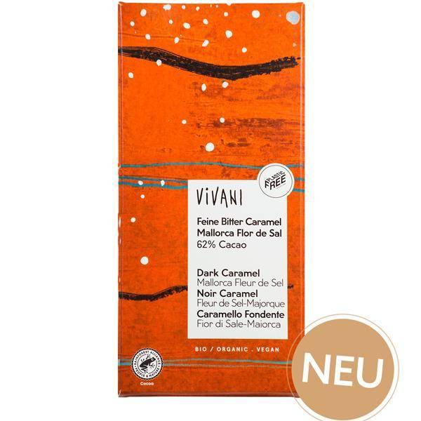 Bilde av Vivani Mørk sjokolade 62% Caramel Mallorca Sel 80 gram